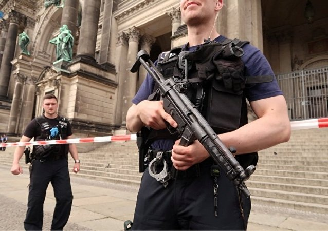 Police secure the Berliner Dom after a German policeman shot a man at the Berlin Cathedral, German media reported in Berlin, Germany, June 3, 2018