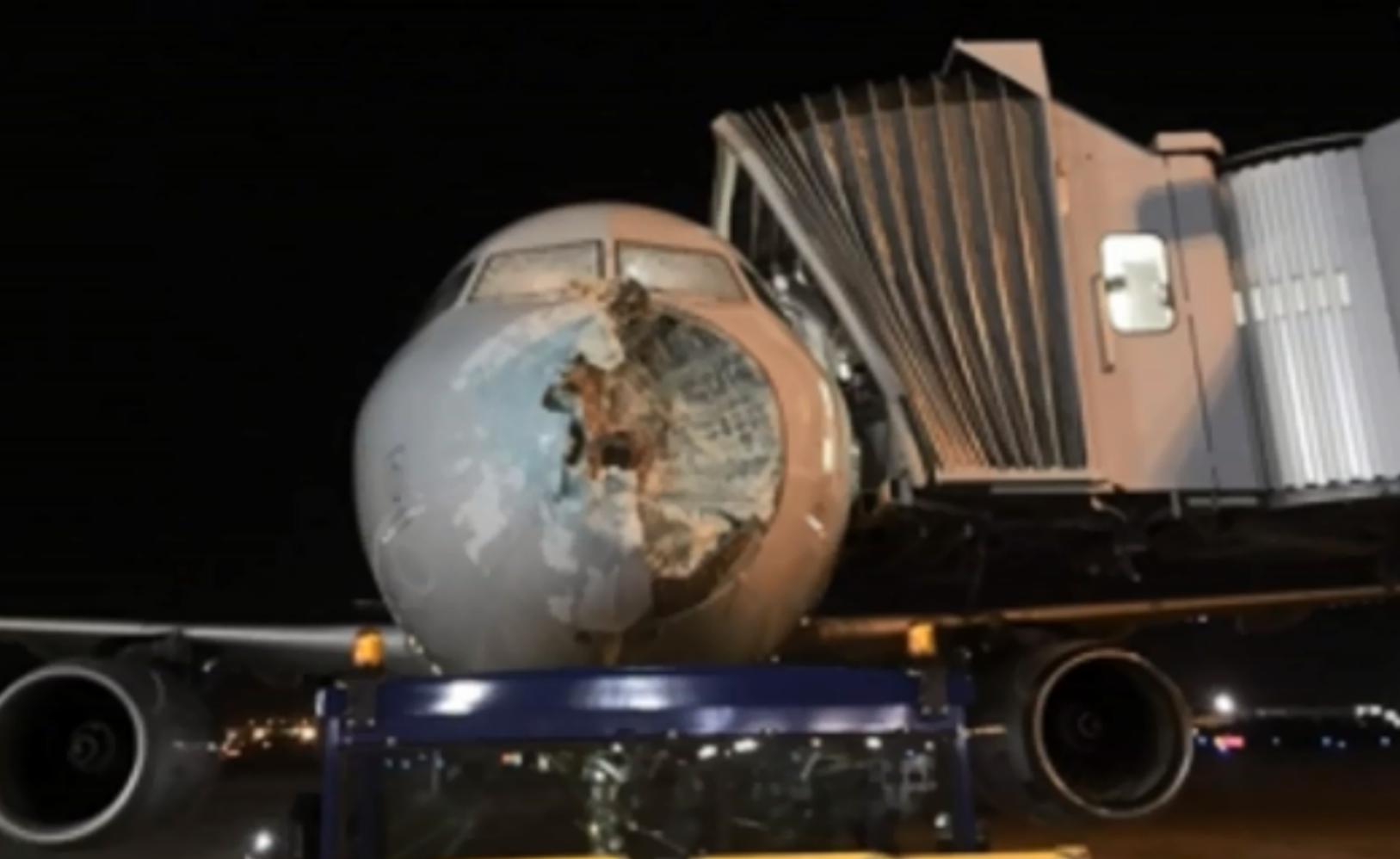 American Airlines flight 1897 makes emergency landing in El Paso, Texas after a severe hailstorm damages the plane's nose and windshield.