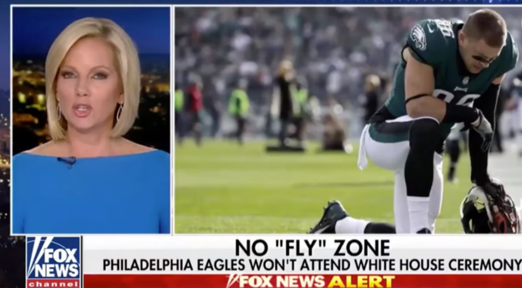 Photo shows Fox News using images of Philadelphia Eagles players praying before a game for a segment on US President Donald Trump's criticism of national anthem protest.