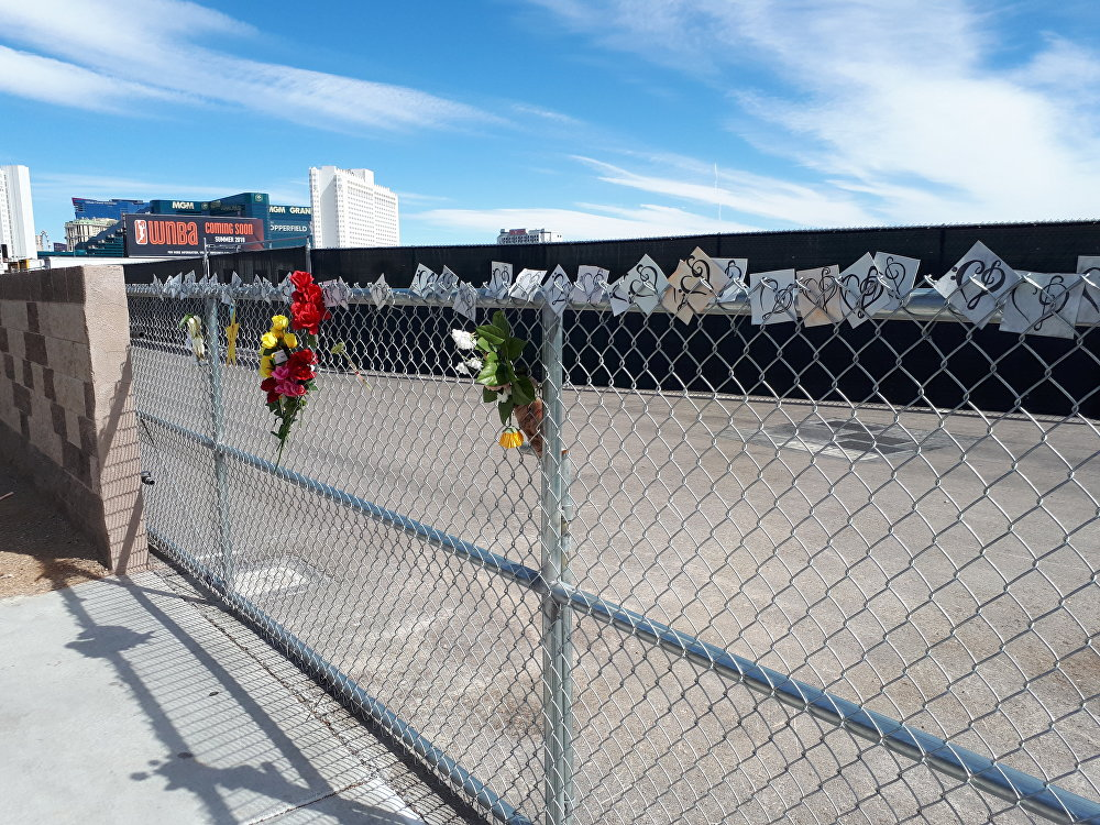 A memorial at the site of the Route 91 Harvest music festival in Las Vegas, where 58 people were gunned down in October 2017