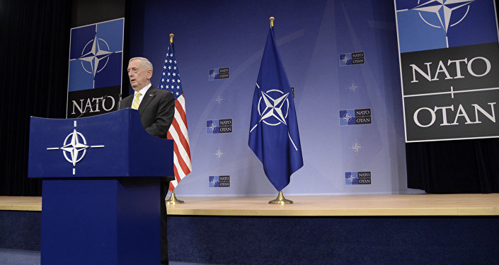 US Secretary of Defence James Mattis delivers a speech during a press conference following the NATO Defence Ministers' meeting at NATO headquarter in Brussels