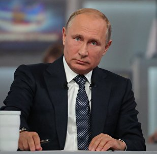 Russian President Vladimir Putin answers questions from Russia's citizens during the annual special Direct Line with Vladimir Putin broadcast live by Russian TV channels and radio stations