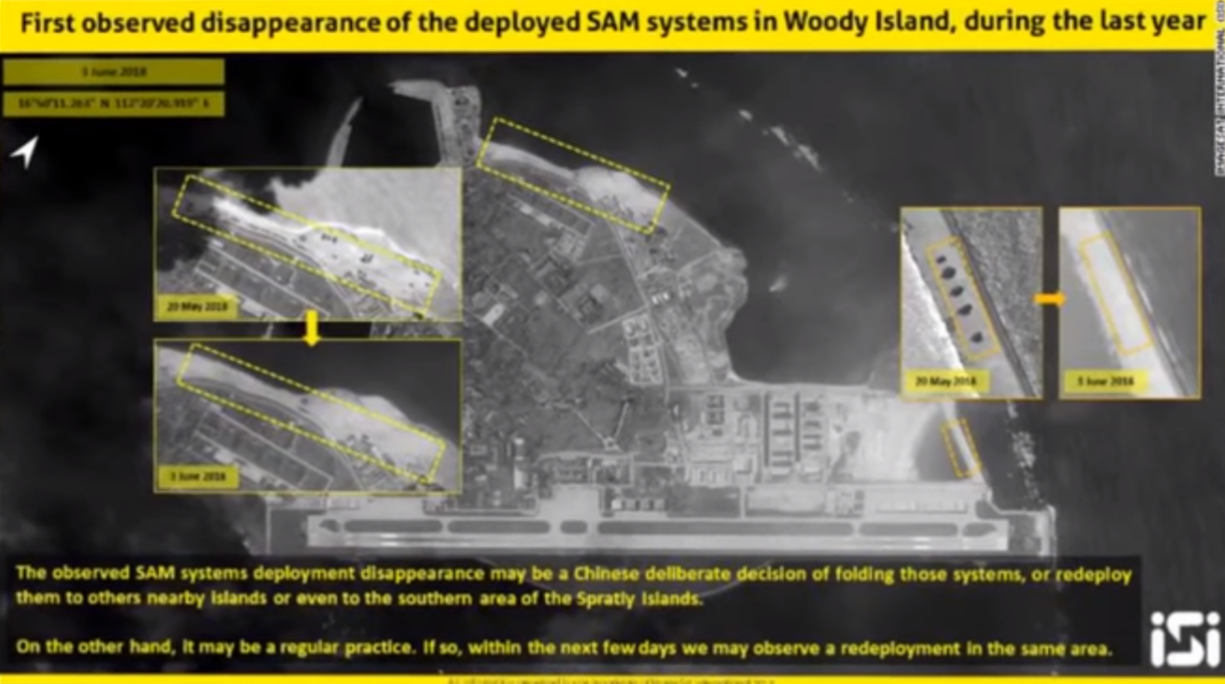 Photos taken by ImageSat International show disappearance of China's missile systems on Woody Island.