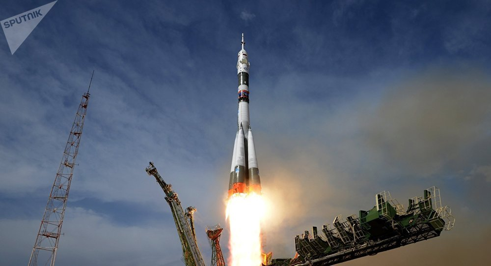 The launch of Soyuz-FG carrier rocket with Soyuz MS-09 manned spacecraft from the launch table of launch pad No.1, Gagarin's Start, at Baikonur space center