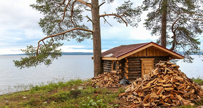 A bathhouse at the shore of Lake Onega in the Republic of Karelia.