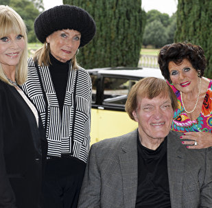 Eunice Gayson, at right, with, from left, Britt Ekland, Tania Mallet and Richard Kiel at a photocall for Bond 50 on Friday, Sept. 21, 2012 in London, UK