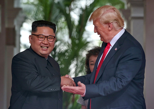US President Donald Trump meets North Korean leader Kim Jong Un at the Capella Hotel on Sentosa island in Singapore June 12, 2018.