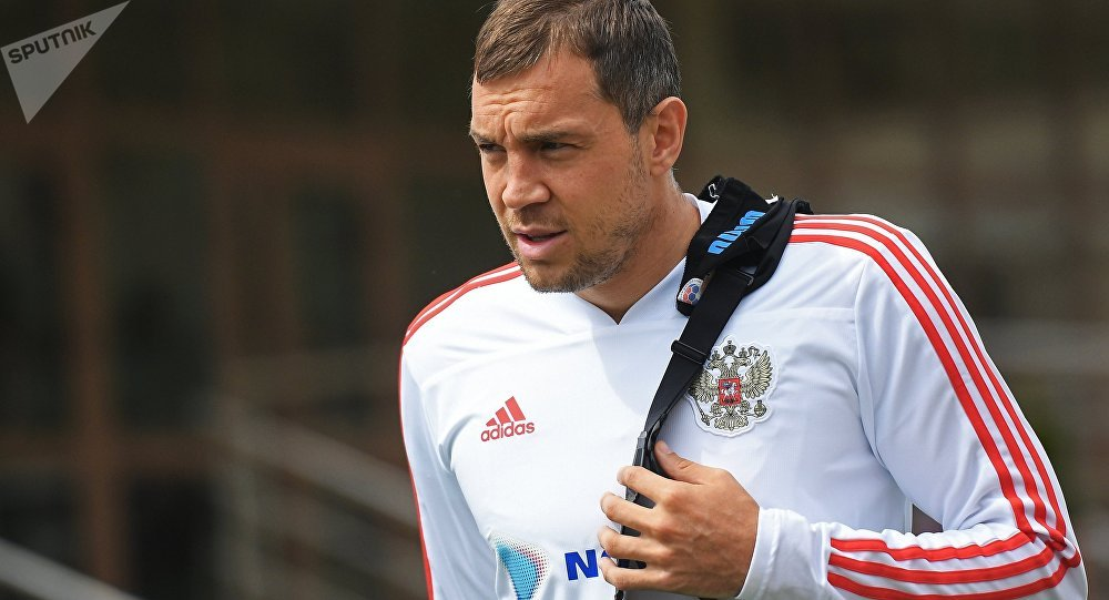The player of Russian national team Artem Dzyuba before the training in the educational and training center Novogorsk
