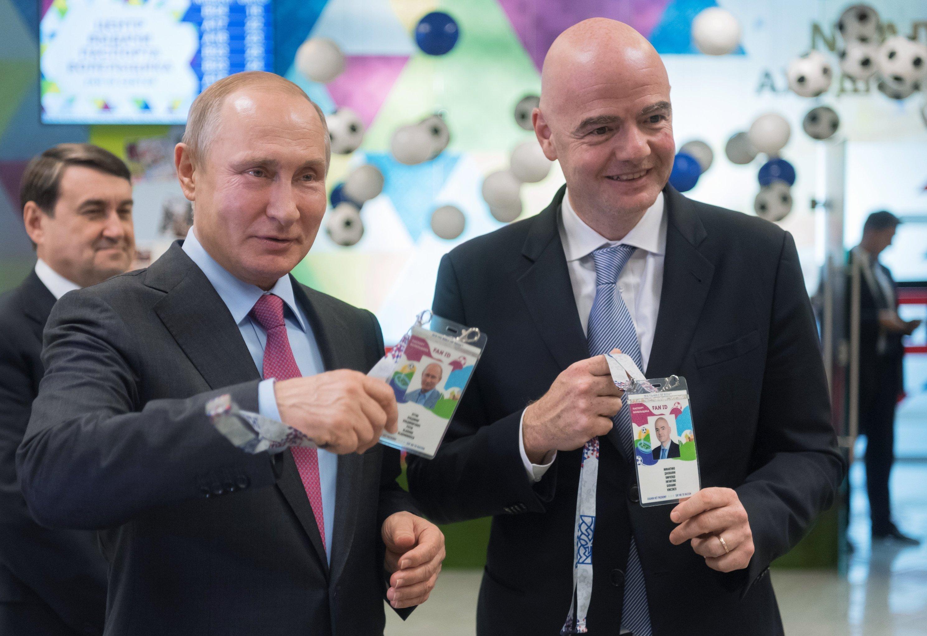 Russian President Vladimir Putin and FIFA president Gianni Infantino