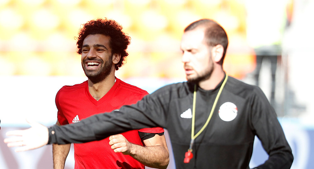 Soccer Football - World Cup - Egypt Training - Ekaterinburg Arena, Yekaterinburg, Russia - June 14, 2018 Egypt's Mohamed Salah during training