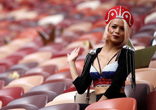 Soccer Football - World Cup - Group A - Russia vs Saudi Arabia - Luzhniki Stadium, Moscow, Russia - June 14, 2018 A Russia fan before the match
