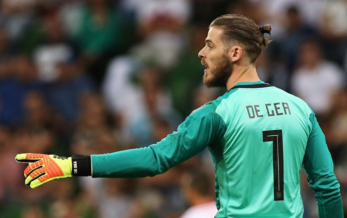 Spain's goalkeeper David de Gea points during a friendly match between Tunisia's and Spain's national soccer teams ahead of the World Cup in Krasnodar, Russia, June 9, 2018