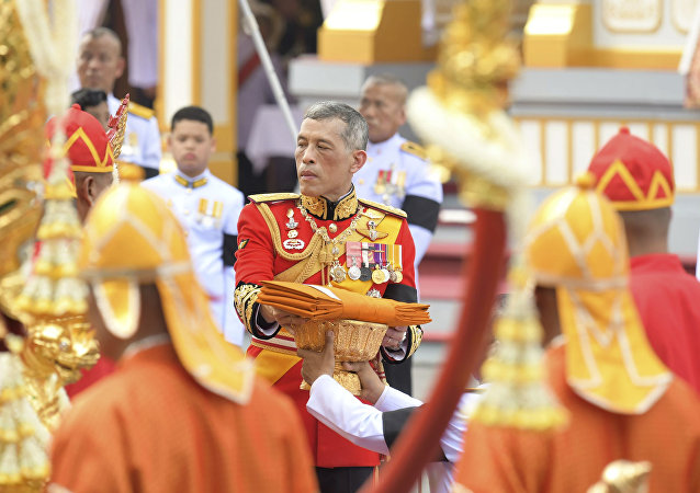 Thailand's King Maha Vajiralongkorn takes part in the funeral of his father, the late Thai King Bhumibol Adulyadej in Bangkok, Thailand, Thursday, Oct. 26, 2017