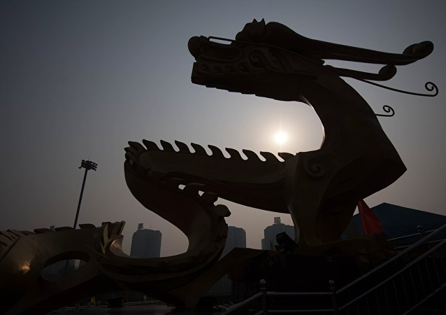 A dragon sculpture in Beijing