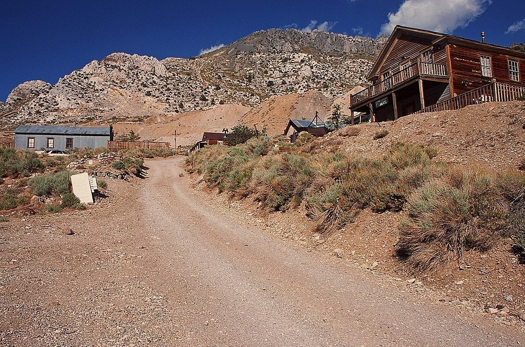 Main street of the silver-mining ghost town of Cerro Gordo
