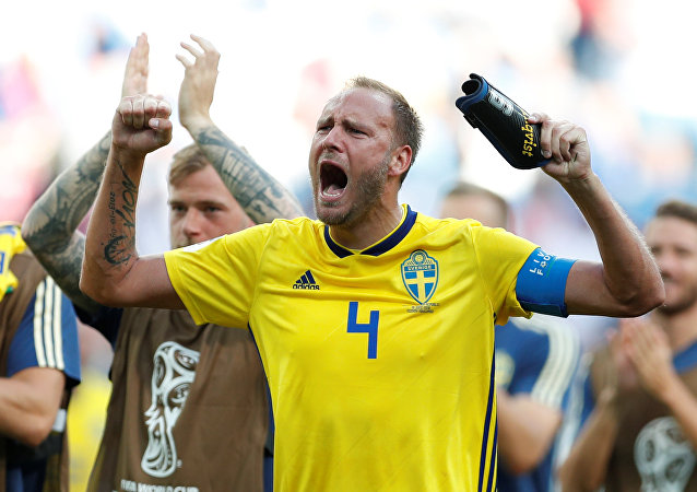 Soccer Football - World Cup - Group F - Sweden vs South Korea - Nizhny Novgorod Stadium, Nizhny Novgorod, Russia - June 18, 2018 Sweden's Andreas Granqvist celebrates victory after the match