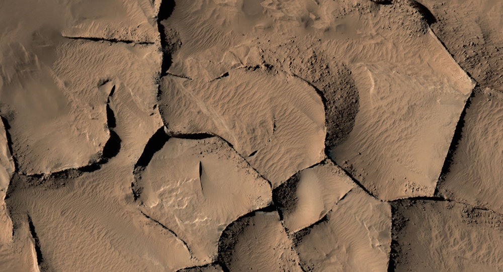 This view shows part of an area on Mars where narrow rock ridges