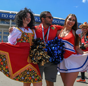 Fans at Luzhniki stadium before a match of the FIFA World Cup between Portuguese and Morocco national teams
