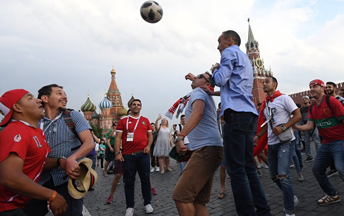 Fans of the World Cup 2018 play football on Red Square in Moscow