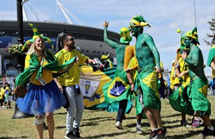 Fans of the Brazilian national team before the start of the 2018 World Cup football match between the national teams of Brazil and Costa Rica