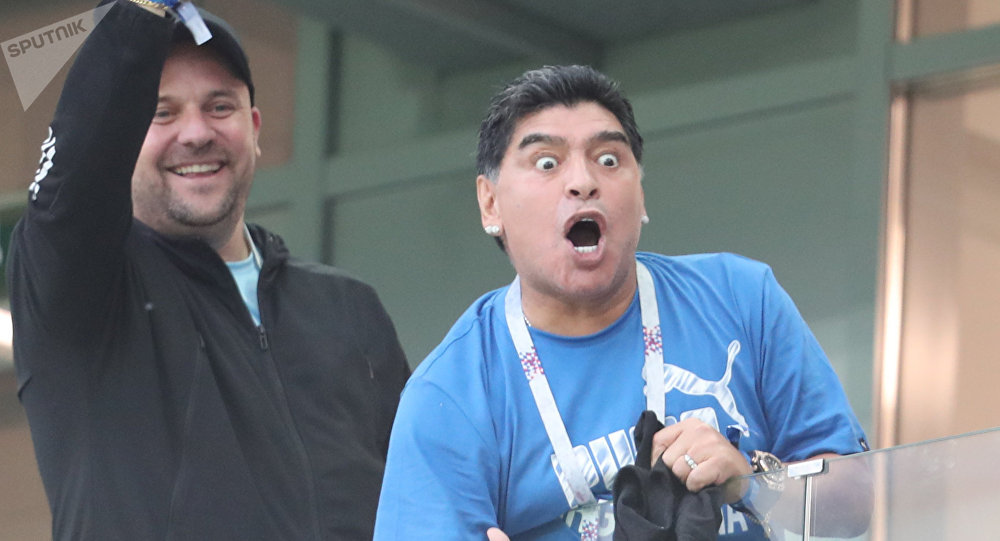 Diego Maradona reacts during the World Cup Group D soccer match between Argentina and Croatia at the Nizhny Novgorod stadium, in Nizhny Novgorod, Russia, June 21, 2018