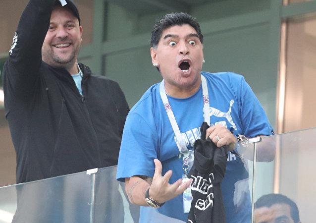 Diego Maradona reacts during the World Cup Group D soccer match between Argentina and Croatia at the Nizhny Novgorod stadium, in Nizhny Novgorod, Russia, June 21, 2018