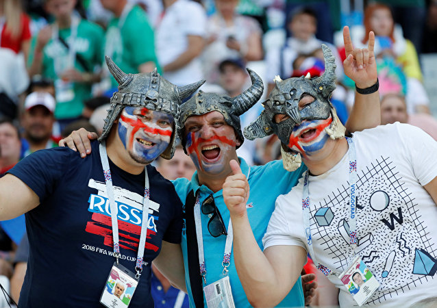Soccer Football - World Cup - Group D - Nigeria vs Iceland - Volgograd Arena, Volgograd, Russia - June 22, 2018 Iceland fans inside the stadium before the match