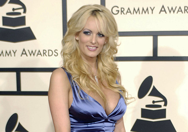 In this 10 February 2008 file photo, adult film star Stormy Daniels arrives at the 50th Annual Grammy Awards in Los Angeles