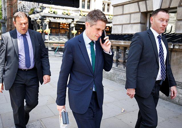 Britain's Secretary of State for Defence Gavin Williamson walks down Whitehall in Westminster, London, June 6, 2018