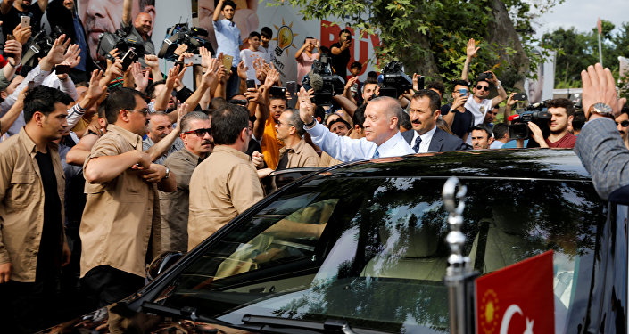 Turkish President Tayyip Erdogan waves to supporters as he leaves his residence in Istanbul, Turkey June 24, 2018