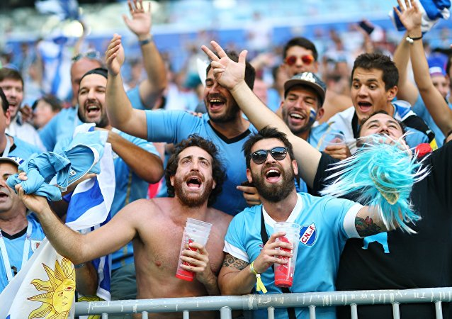 Fans before World Cup 2018 soccer match between the national teams of Uruguay and Russia
