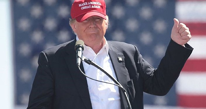 US President Donald Trump, then candidate Donald Trump, wears a Make America Great Again hat  at a rally in Arizona.