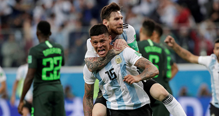 Soccer Football - World Cup - Group D - Nigeria vs Argentina - Saint Petersburg Stadium, Saint Petersburg, Russia - June 26, 2018 Argentina's Marcos Rojo celebrates scoring their second goal with Lionel Messi