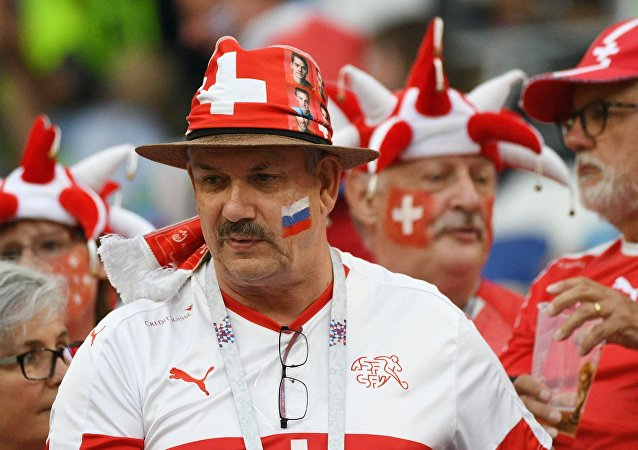 Swiss Fan Before Switzerland - Costa Rica World Cup Match. 2018