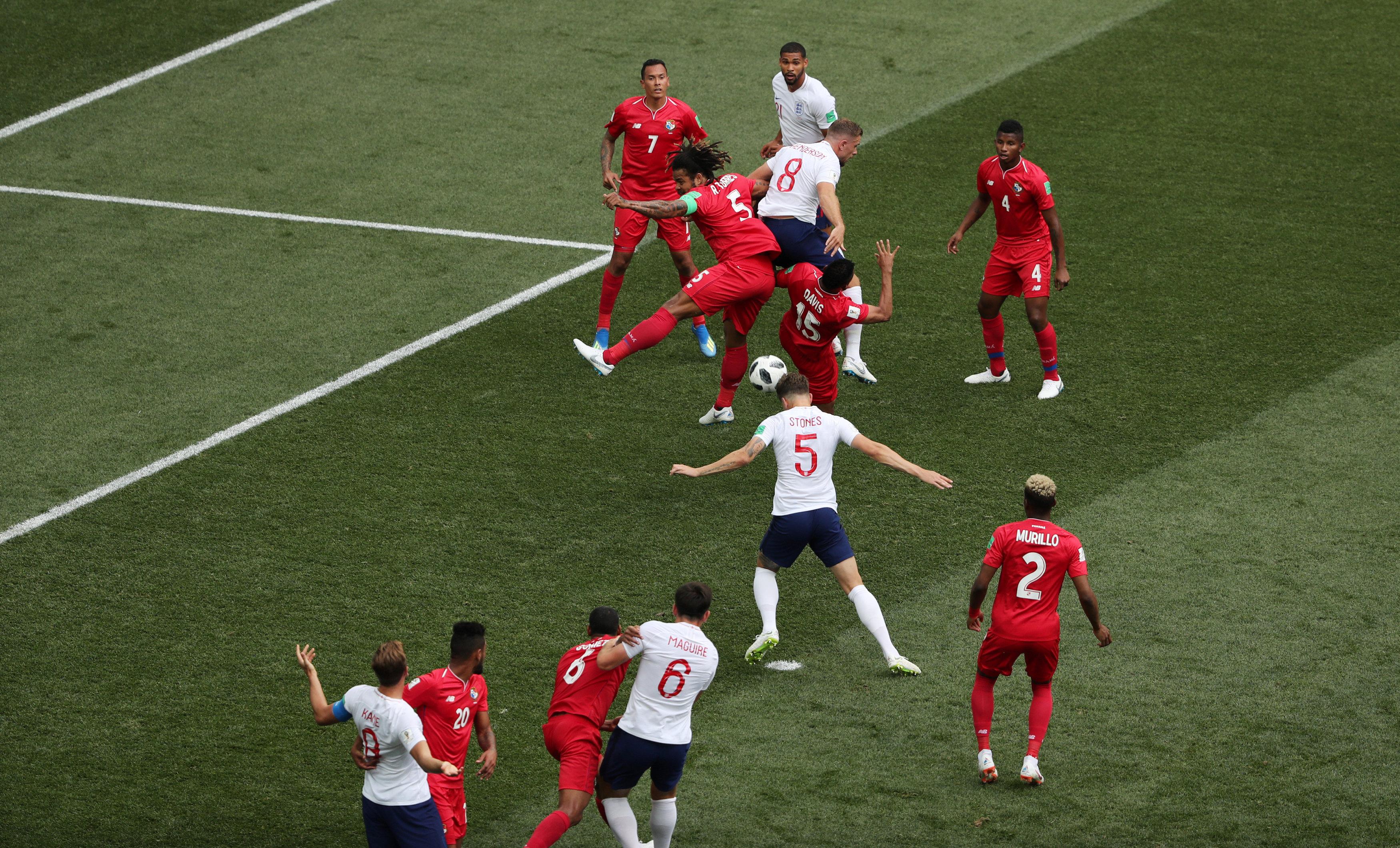Soccer Football - World Cup - Group G - England vs Panama - Nizhny Novgorod Stadium, Nizhny Novgorod, Russia - June 24, 2018 England's John Stones scores their first goal