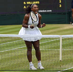 Britain Tennis - Wimbledon - All England Lawn Tennis & Croquet Club, Wimbledon, England - 9/7/16 USA's Serena Williams celebrates winning the first set in the womens singles final match against Germany's Angelique Kerber