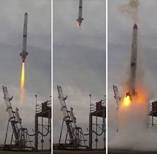 This combo of video grabs provided by Interstellars Technologies shows the failed launch of the rocket MOMO-2 in Taiki, Kokkaido prefecture, on June 30, 2018