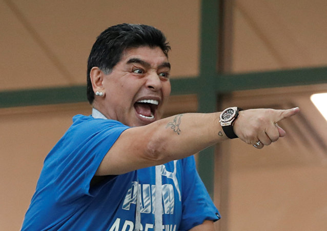 Soccer Football - World Cup - Group D - Argentina vs Croatia - Nizhny Novgorod Stadium, Nizhny Novgorod, Russia - June 21, 2018 Diego Maradona in the stands