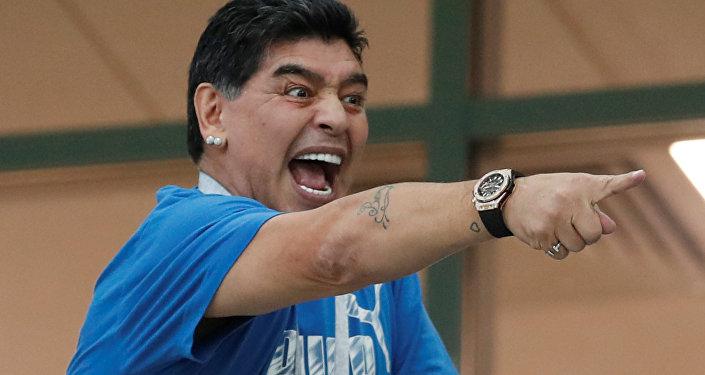 Soccer Football - World Cup - Group D - Argentina vs Croatia - Nizhny Novgorod Stadium, Nizhny Novgorod, Russia - June 21, 2018 Diego Maradona in the stands