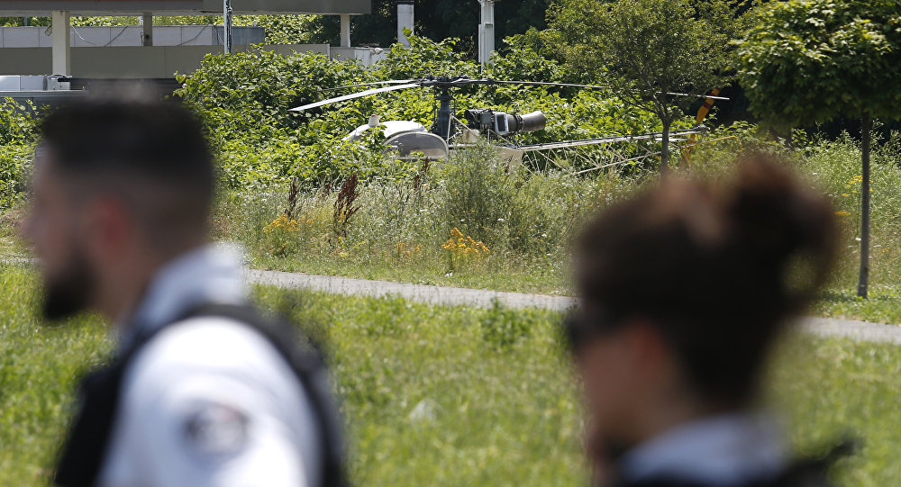 This picture taken on July 1, 2018 in Gonesse, north of Paris shows a French helicopter Alouette II abandoned by French armed robber Redoine Faid after his escape from prison in Reau