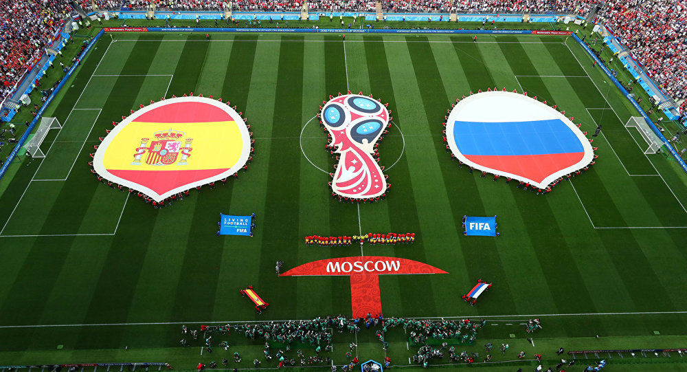 Soccer Football - World Cup - Round of 16 - Spain vs Russia - Luzhniki Stadium, Moscow, Russia - July 1, 2018 General view of both teams and officials lined up before the match