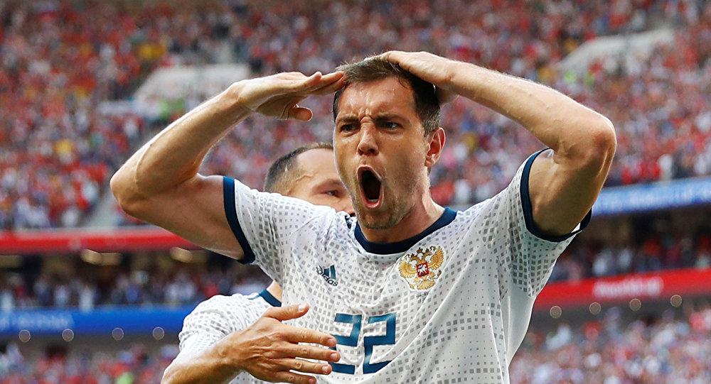 Soccer Football - World Cup - Round of 16 - Spain vs Russia - Luzhniki Stadium, Moscow, Russia - July 1, 2018 Russia's Artem Dzyuba celebrates scoring their first goal