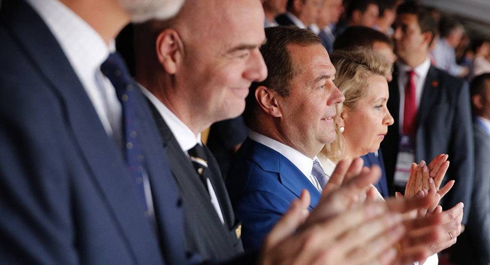 Russian Prime Minister Dmitry Medvedev and his wife Svetlana during the match of the World Cup 1/8 finals between Spain and Russia.