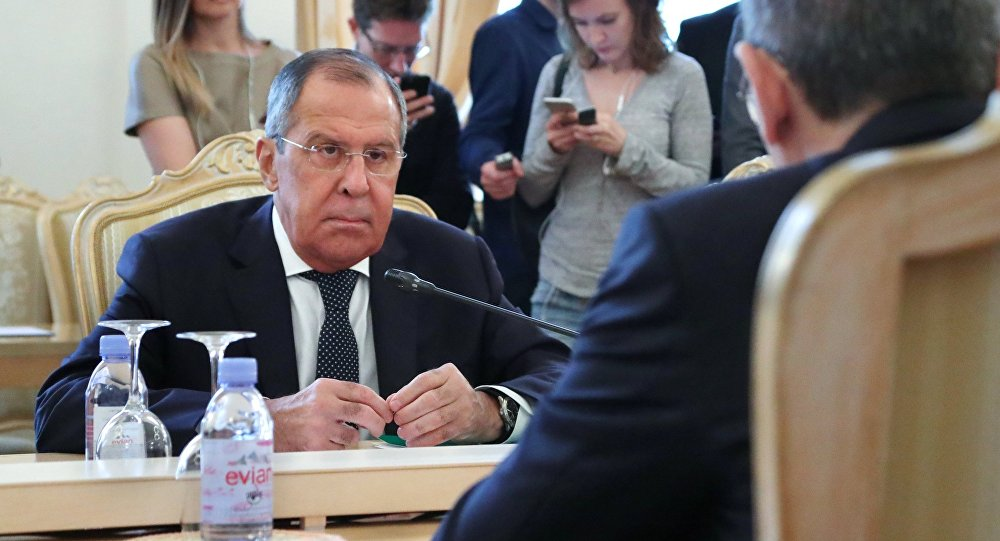 Russian Foreign Minister Sergei Lavrov during talks with Minister of Foreign Affairs and Expatriates of the Hashemite Kingdom of Jordan Ayman Safadi at the Foreign Ministry Reception House.