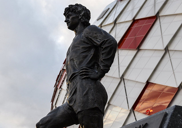 Monument to legendary Spartak forward Fyodor Cherenkov by the Otkrytie Arena stadium in Moscow