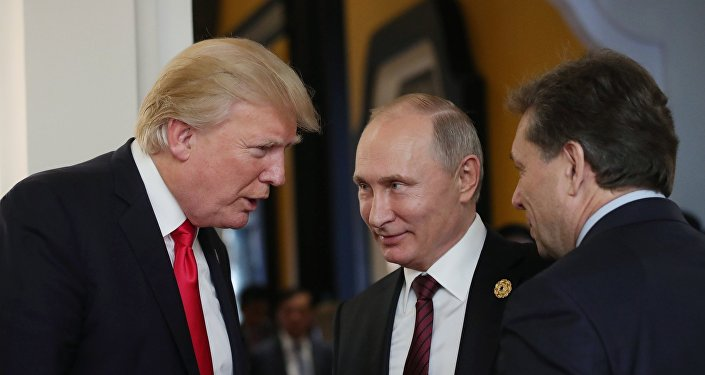 US President Donald Trump and Russian President Vladimir Putin meet on the sidelines of the Asia-Pacific Economic Cooperation forum. 11th of November, 2017