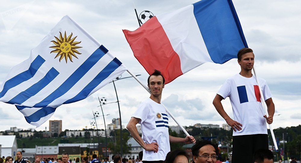 Fans before World Cup 2018 soccer match between the national teams of Uruguay and France