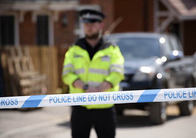 A police line outside the nerve agent victim Charlie Rowley in Amesbury, Wiltshire.