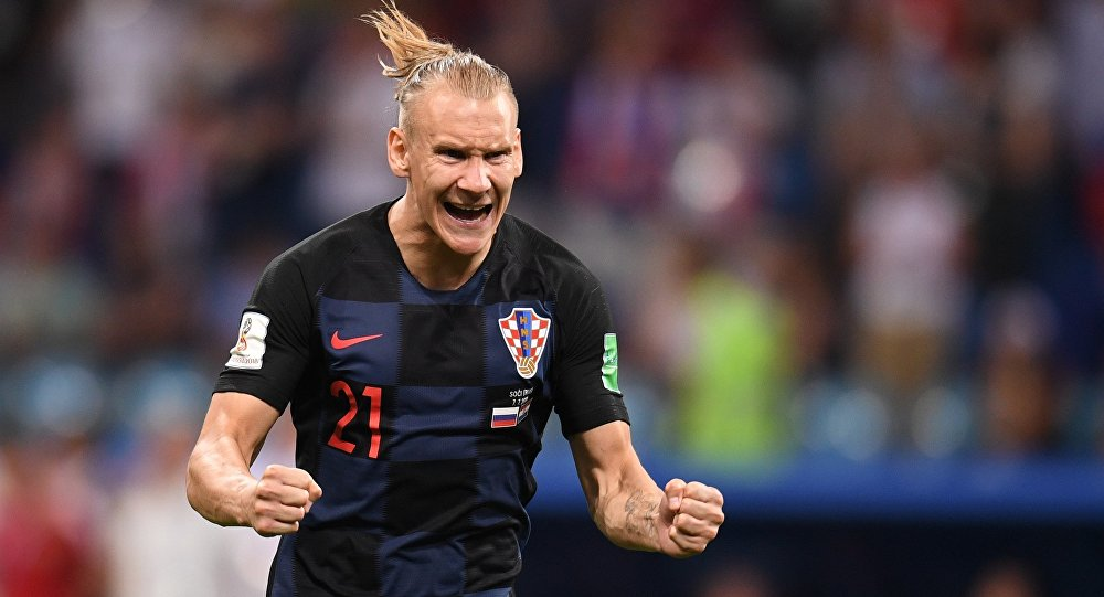 Croatian defender Domagoj Vida during the Russia vs Croatia match in Sochi on July 7