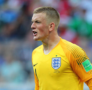 England's goalkeeper Jordan Pickford reacts watching his teammates during the World Cup Group G soccer match between England and Panama at the Nizhny Novgorod stadium, in Nizhny Novgorod, Russia, June 24, 2018